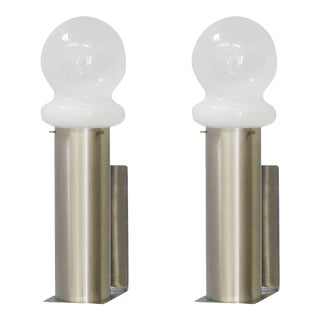 Modernist Opaline Murano Glass Sconces by Leucos - a Pair For Sale