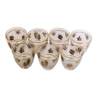 Mid-Century Libby Gold Leaf Bar Glasses - Set of 7