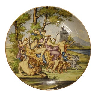 Large Antique Italian Majolica Platter, Bacchus and Ariadne Circa 1880 For Sale