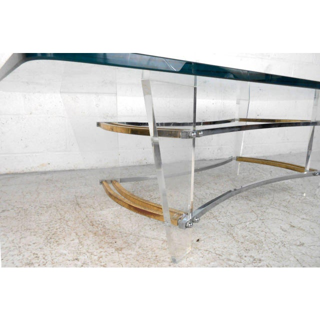 Charles Hollis Jones Vintage Lucite and Brass Coffee Table by Charles Hollis Jones For Sale - Image 4 of 7