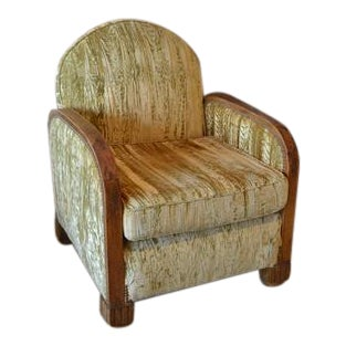 Vintage Art Deco Chair With Gold Fabric For Sale