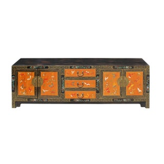 Chinese Oriental Brown Orange Butterflies Flower Low Tv Console Cabinet For Sale
