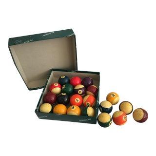 Vintage Bakelite Billiard Balls Box & 6 Extras For Sale