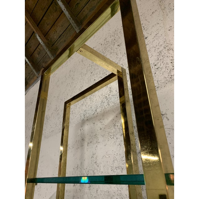 Milo Baughman Stunning Vintage Architectural Brass Etagere in the Manner of Milo Baughman For Sale - Image 4 of 7