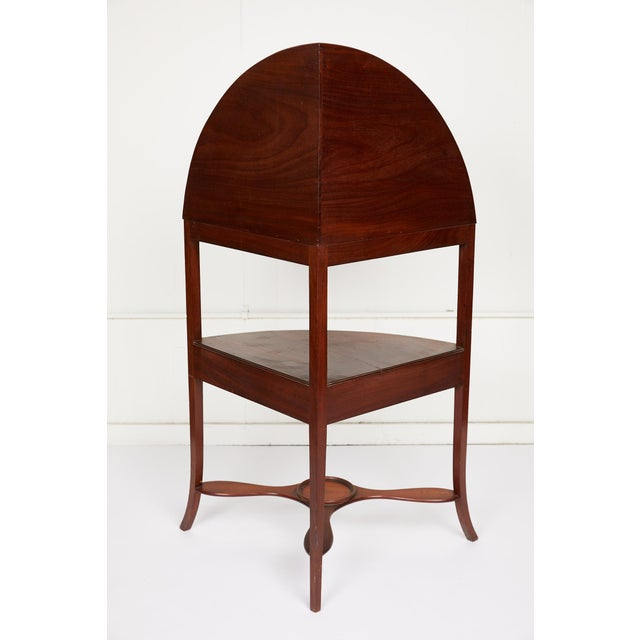 Late 19th Century Mahogany Corner Wash Stand With Red Leather Top For Sale - Image 5 of 11
