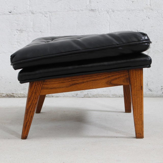 Mid-Century Modern Tufted Lounge Chair With Ottoman - Image 9 of 10