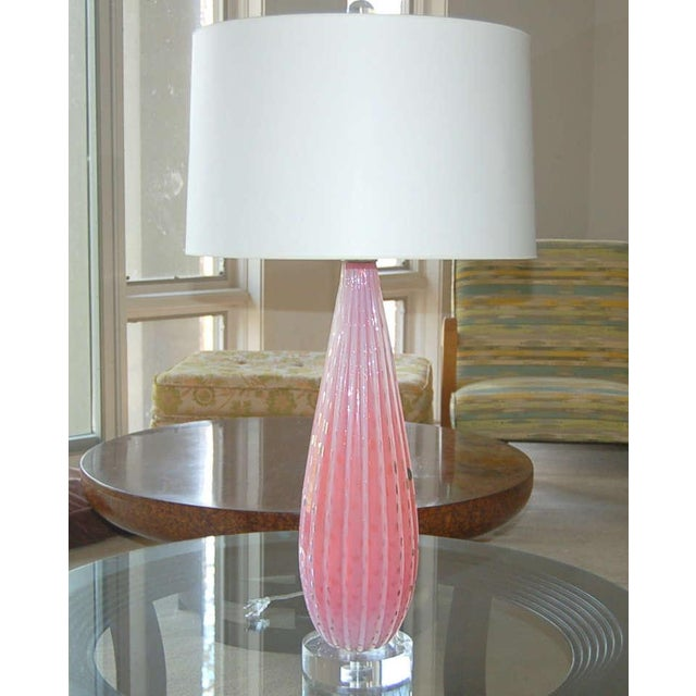 A very rich PINK Venetian opaline table lamp. The glass is heavily ribbed with loads of controlled bubbles - absolutely...