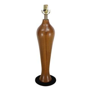 Modern Solid Carved Turned Teak Vase Table Lamp For Sale
