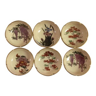 6 Vintage Japan Hand Painted Sushi Dipping Bowls