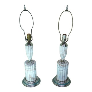 Slag Glass Art Deco Waterfall Table Lamps - Set of 2 For Sale