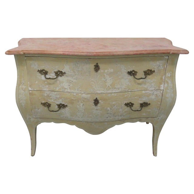 1960s Chinoiserie Painted Bombe Chest For Sale