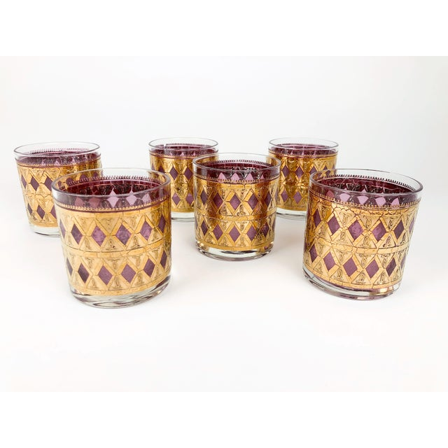 Pink Vintage Pink/Purple and Gold Cocktail Glasses - Set of 6 For Sale - Image 8 of 8