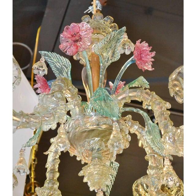 1920s Antique Italian Murano Multi-Color Chandelier For Sale - Image 5 of 7