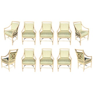 Target Back Dining Chairs by McGuire, Set of Ten For Sale