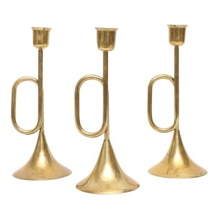 Vintage Brass Candle Holders - Set of 3 For Sale