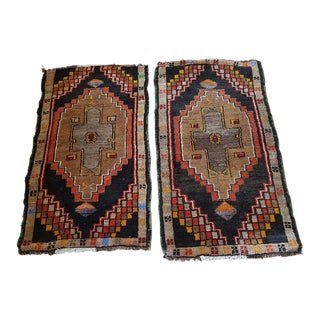 1970s Vintage Turkish Handwoven Rugs - 1′10″ × 2′11″ - a Pair For Sale