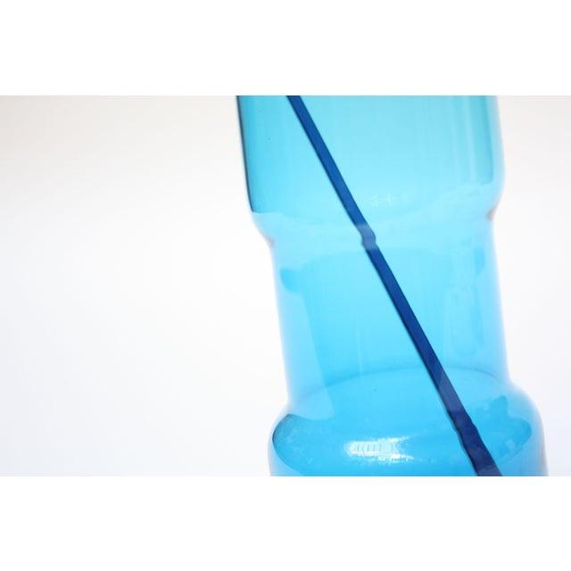 Glass Gunnar Ander for Lindshammer Swedish Blue Glass Pitcher & Stirrer For Sale - Image 7 of 11