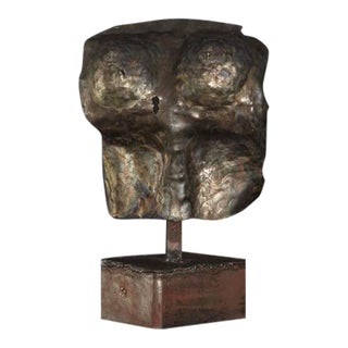 Brutalist Bronze Sculpture of a Female Torso, 1980s For Sale