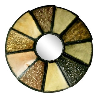 Vintage Modernist Sunburst Mirror With a Mixed Metal Border For Sale