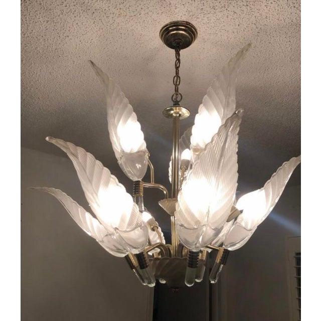 Italian Murano Glass & Brass Italian Leaf Chandelier For Sale - Image 3 of 8