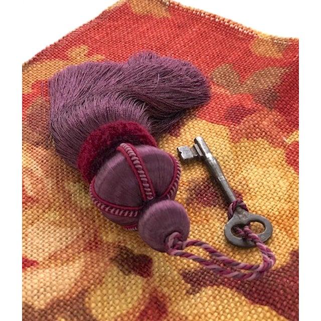 Mulberry Key Tassel W Cut Velvet Ruche For Sale - Image 4 of 11