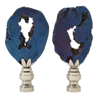 Sapphire Luster Geode Crystal Finials by C. Damien Fox , a Pair For Sale