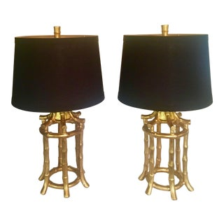 Faux Bamboo Hollywood Regency Lamps - a Pair For Sale