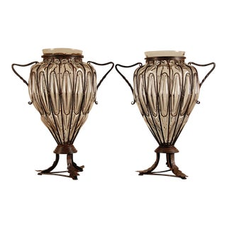 Mid-Century Italian Caged Blown Glass Vases - a Pair For Sale