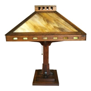 Craftsman Antique Arts and Crafts Oak Table Lamp With Glass Shade