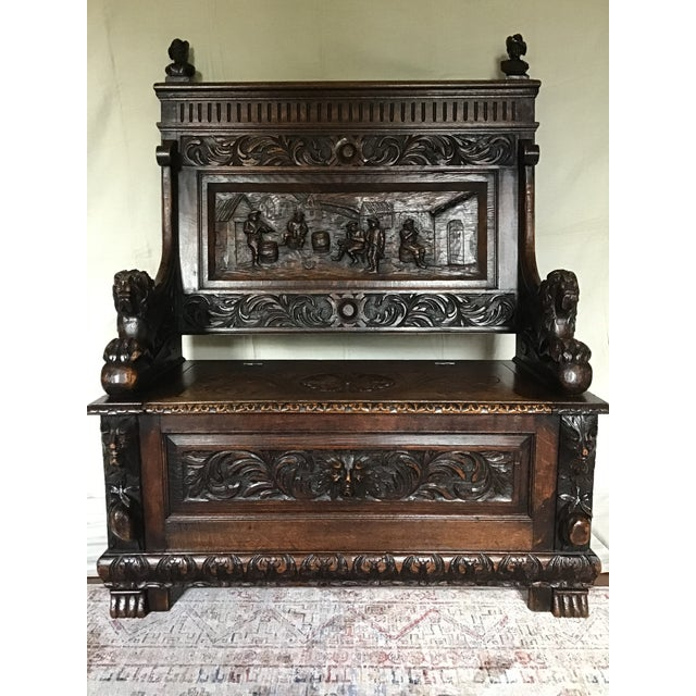 Late 19th Century Antique Carved Oak Bench For Sale - Image 13 of 13