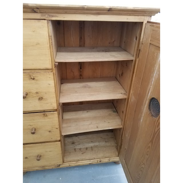 English Antique Pine Food Cupboard With Key For Sale - Image 3 of 13