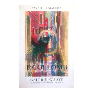 """Paul Collomb Rare Vintage 1976 Mourlot Lithograph Print Galerie Guiot Paris Exhibition Poster """" Pont Aux Gondoles Ruelle a Venise """" For Sale"""