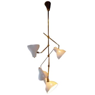Gino Sarfatti Style Four-Light Brass and Enameled Mid-Century Chandelier, Italy Circa 1951 For Sale