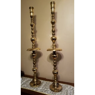 Vintage 1970s Tall Brass Candelabras - a Pair Preview
