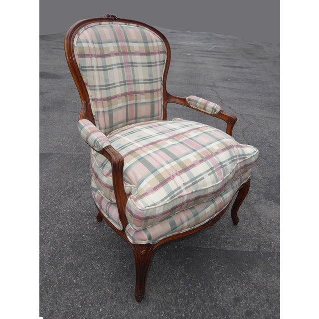 Vintage French Country Carved Wood & Plaid Arm Chair - Image 4 of 11