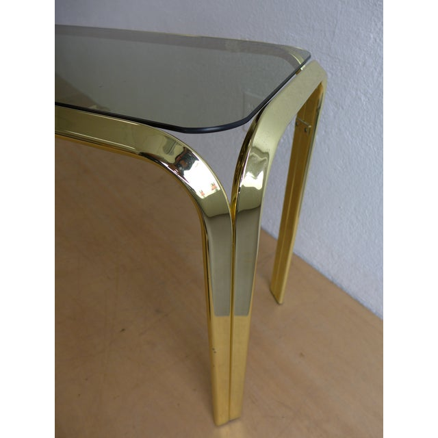Smoked Glass Brass Console Table For Sale In Los Angeles - Image 6 of 8