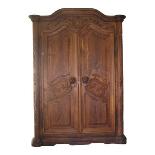 Carved Lion Head Ring Pull Armoire
