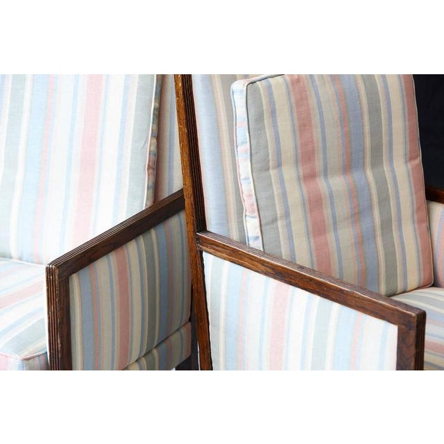 Blue Pair of Italian Neoclassical Style Bergères in Pastel Striped Moiré Taffeta For Sale - Image 8 of 10