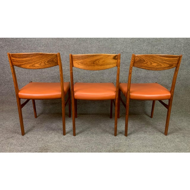 Brown Set of Six Vintage Danish Mid Century Modern Rosewood and Leather Dining Chairs For Sale - Image 8 of 13