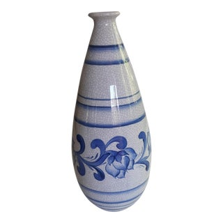 Bitossi Crackle Glaze Blue White Vase For Sale