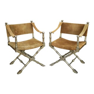 1950's Vintage Drexel Burnished Brass & Faux Bamboo and Suede Safari Style Chairs- a Pair For Sale