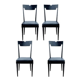 Four Black Lacquered Chairs by Paolo Buffa For Sale