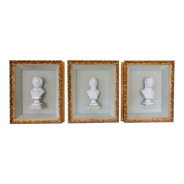 Framed Bust Portraits of Classical Composers - Set of 3 For Sale