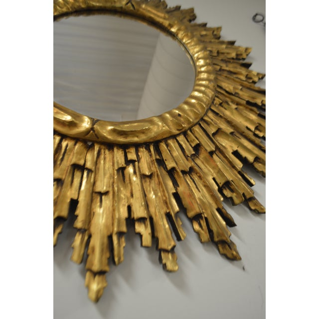 Gold Leaf Gilded Wood Sunburst Mirror, France Circa 1920 For Sale - Image 4 of 9