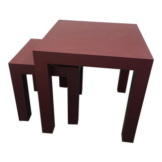 1980s Parsons Nesting Tables in Plum Formica - Set of 2 For Sale