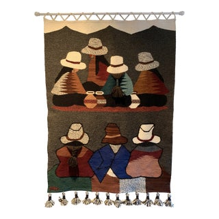 Jose C. Peruvian Wool Mid Century Hand Woven Tapestry For Sale