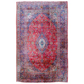 """Antique Persian Kashan Rug - 12'7"""" X 8' For Sale"""