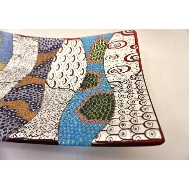 White Contemporary Italian Silver, Blue, Green Murano Glass Mosaic Centerpiece on Red For Sale - Image 8 of 12