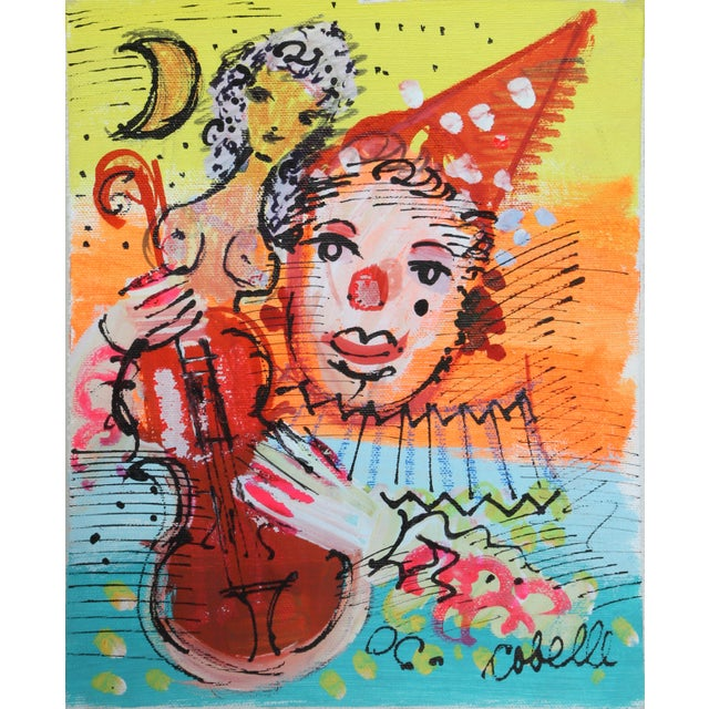 Mid-Century Modern Charles Cobelle, Clown 6 , Acrylic on Canvas, Signed Lower Right For Sale - Image 3 of 3