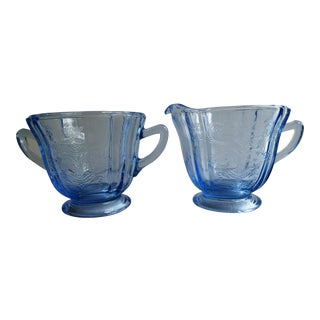 Madrid Recollection Glass Blue Cream Pitcher and Sugar Bowl Virginia Glass - a Pair For Sale